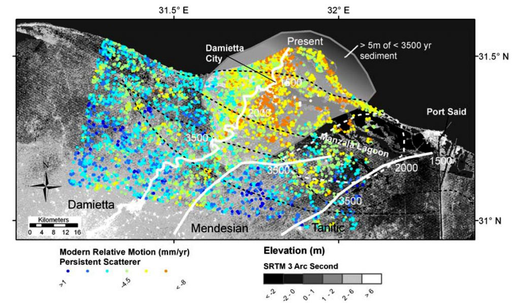 Mean velocities extracted from 14 ascending ERS-l and ERS-2-scenes acquired over the period 1992–1999 and expressed as vertical motion of permanent scatterers.
