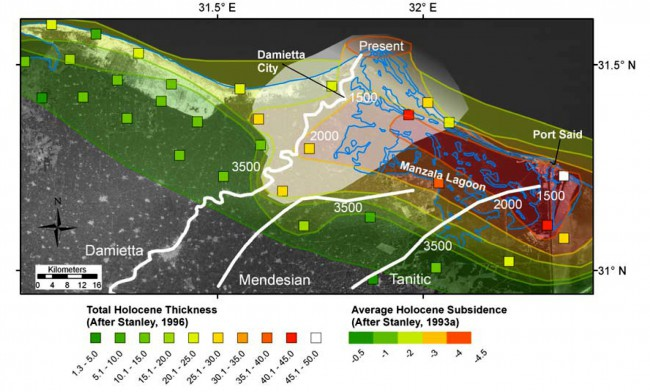 Average Holocene subsidence and Holocene thicknesses from individual borings (colored squares)